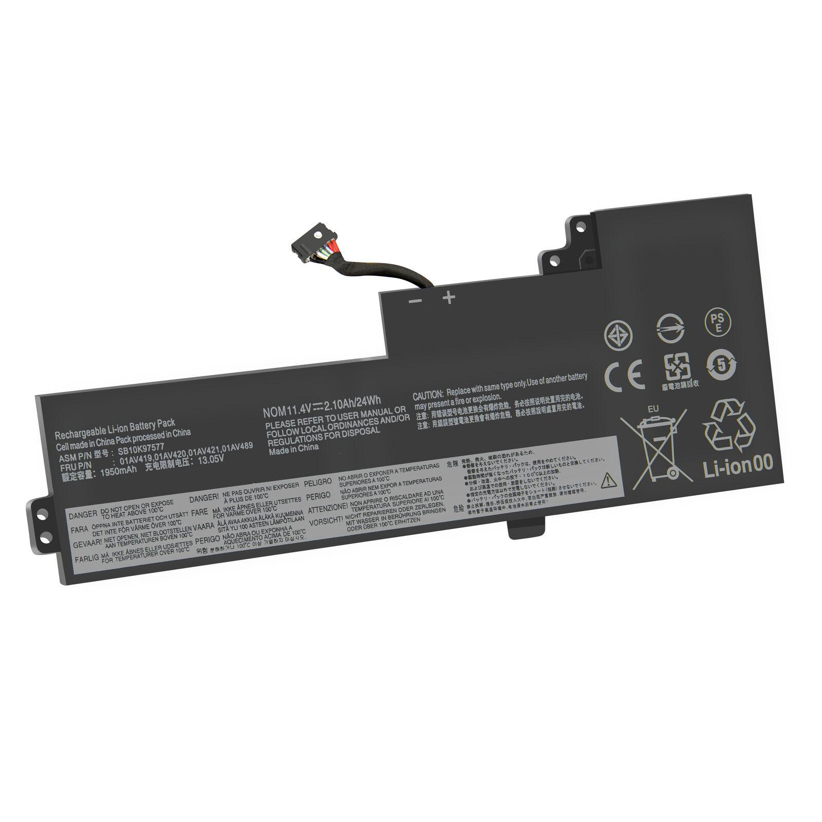 Batterie pour 11.4V 2.1Ah 01AV421 01AV420 SB10K97578 01AV489 01AV419 Lenovo T470 T480(compatible)