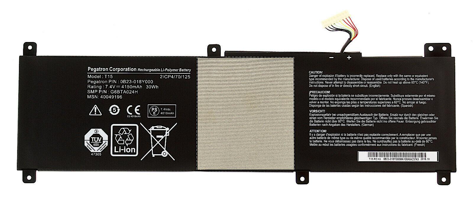 Batterie pour 7.4V 4150mAh Medion S6213T S6214T S6413T T15 0B23-018Y000 (compatible)